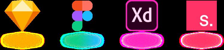 Design System compatible design tools sketch, figma, adobe xd, invision studio. Sketch Logo, Figma Logo, Adobe XD Logo, InVision Studio Logo.